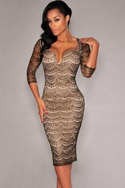 Dear-Lover Black Gold Shimmer Nude Illusion Padded Midi Dress
