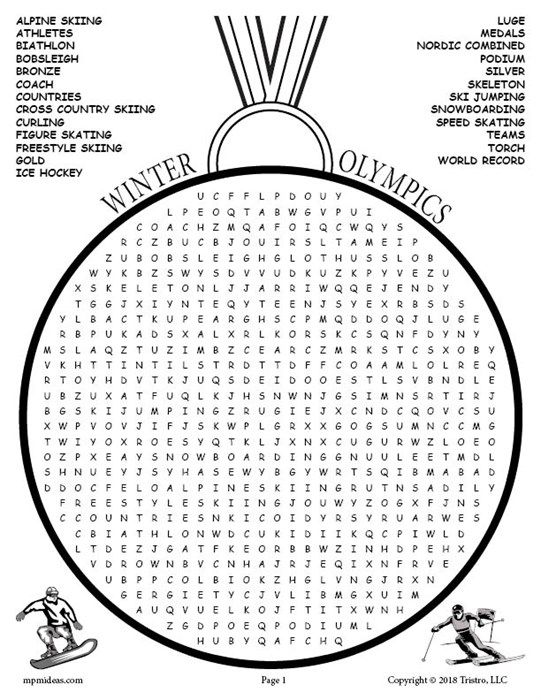 Printable Winter Olympics Word Search Winter Olympics Olympic