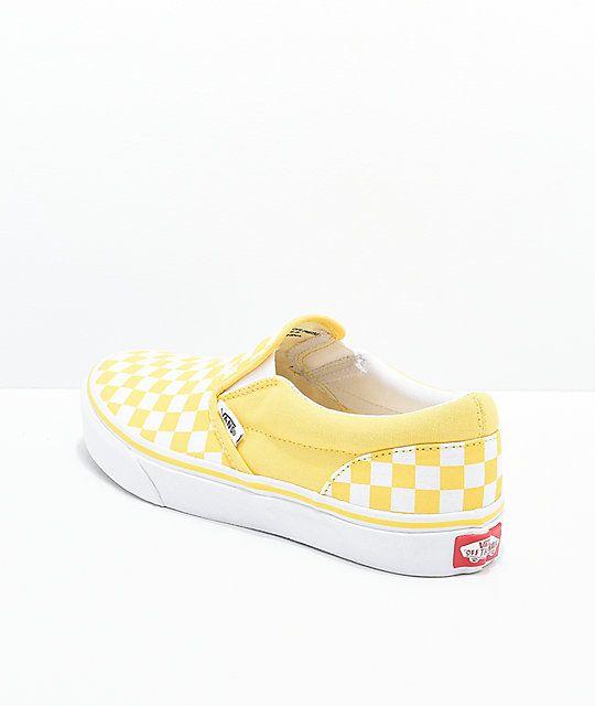 Vans Slip On Aspen Gold & White Checkered Skate Shoes | Vans