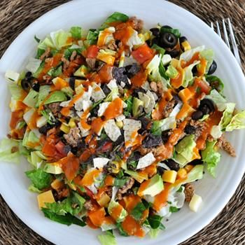 Chopped Taco Salad with Homemade Catalina Dressing..........i will make mine with meatless ground.. NO BEEF ever for me!!