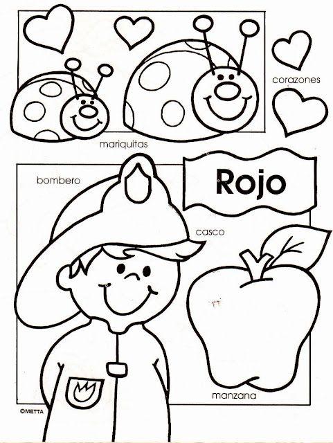 dibujos infantiles con los colores escritos para colorear por los nios