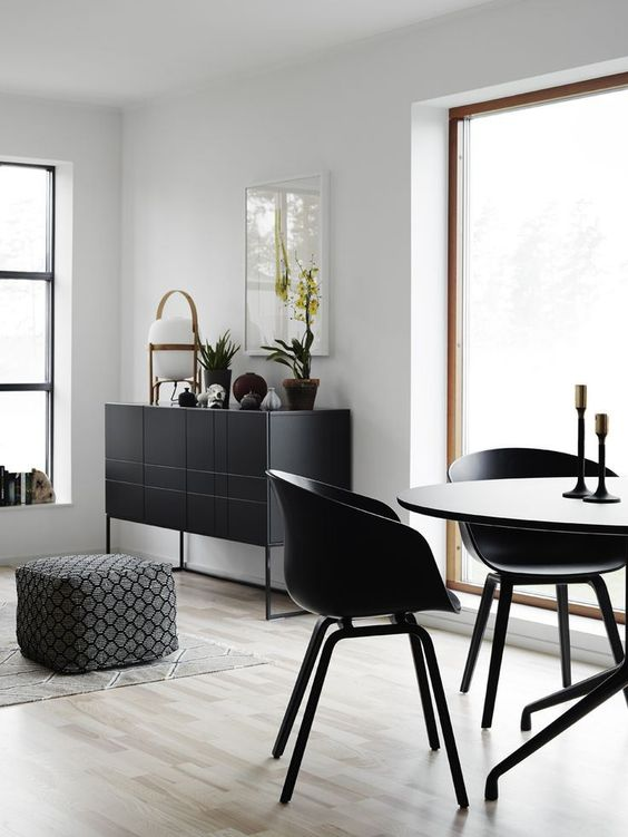 Beatiful black accents in a newly build with the Hay About A Chair. Shop at: http://www.nest.co.uk/product/hay-about-a-chair-with-armrest-and-wooden-base