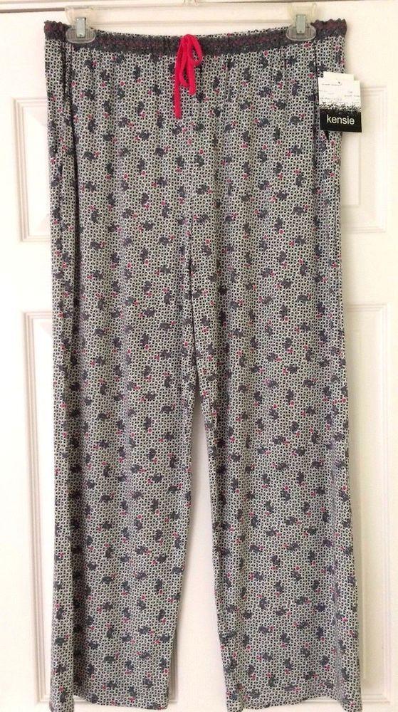 KENSIE Womens Lounge Sleep Pants Pajama Bottom Elephants Print Sleepwear Size M #Kensie #LoungePantsSleep