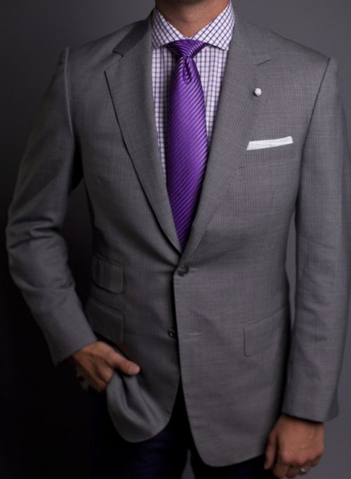 Purple Checkered Shirt Spread Collar And Purple Tie Men