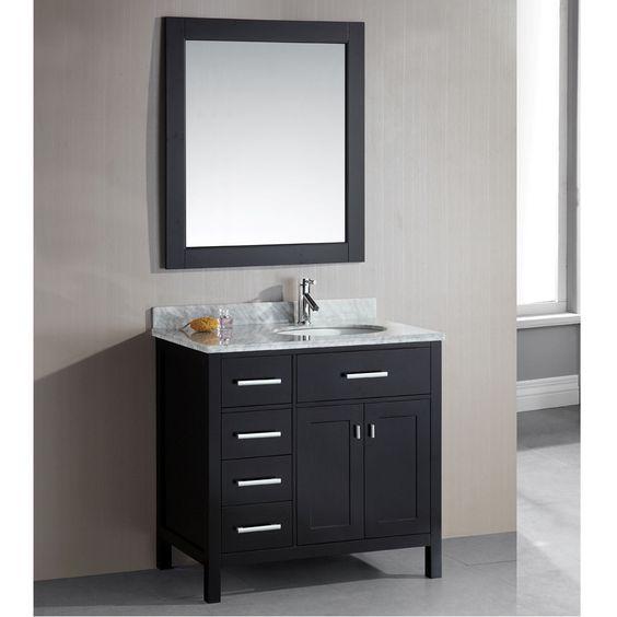 Design Element London 36 Inch Single Sink Espresso 4 Drawer Vanity Set By Design Element
