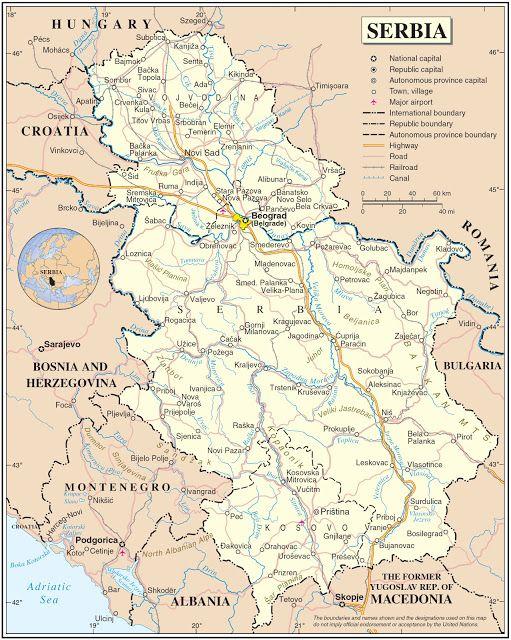 Serbien Geografiske Kort Over Serbien Dansk Encyklopaedi