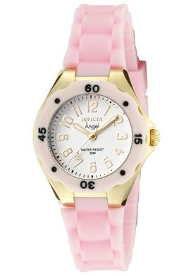 Invicta Women's Angel White Dial 18K Gold Plated Case Light Pink Rubber
