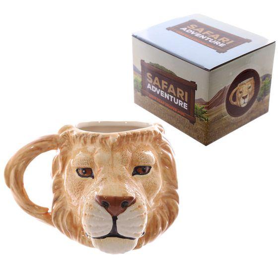 Löwen-Kopf-förmige Keramik Tasse