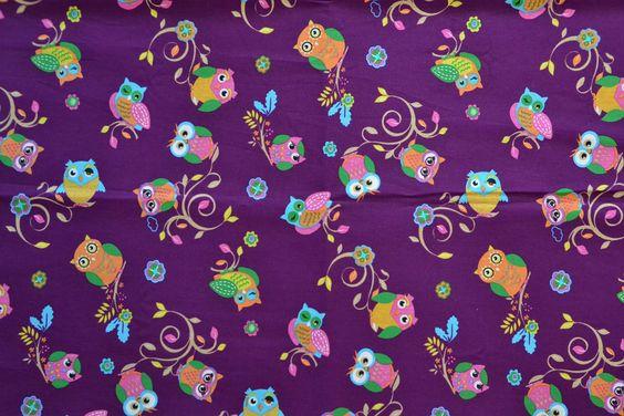Baumwollstoff | Eulen | lila | Kinderstoff | www.feendesign-shop.de