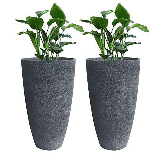 Tall Planters Set 2 Flower Pots 20 Each Patio Deck Indoor