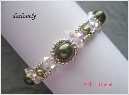 Crystal Green Pearl Metal Bracelet