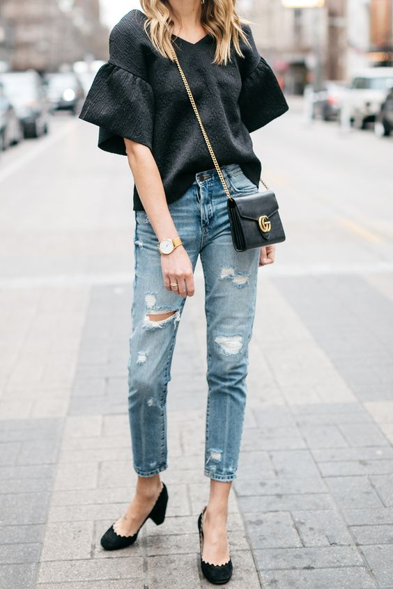 Spring Outfit, Black Ruffle Sleeve Top, Gucci Marmont Handbag, Mom Jeans, Chloe Scallop Pumps