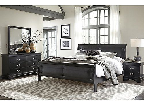 The Marley 4 Pc Queen Bedroom Set Has A Beautiful Black Finish