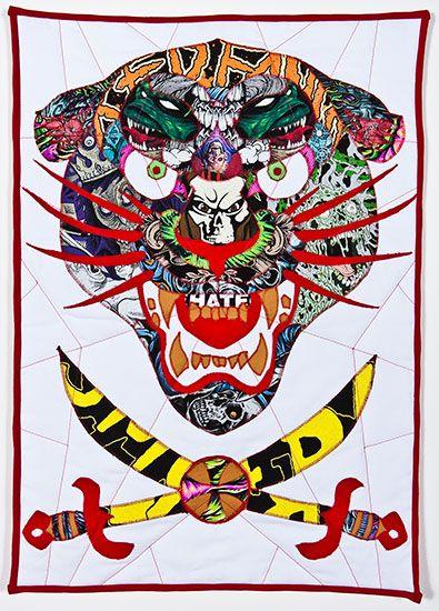 "Ben Venom - Night Lurker / 19"" x 27"" / 2012  Hand-made Quilt, Heavy Metal T-shirts, Fabric, Batting, Thread"