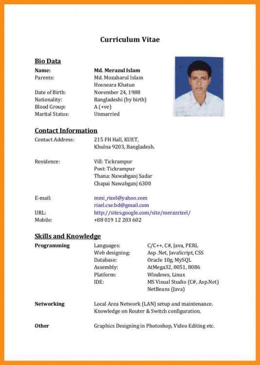4 Cv Format For Bangladesh Resume Setups How To Make Cv Resume Template Examples Cv Format