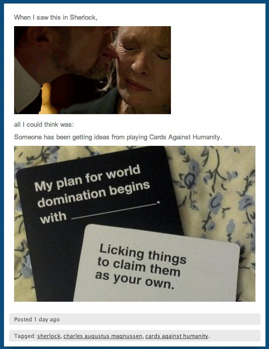 Sherlock + Cards Against Humanity. I approve highly of this