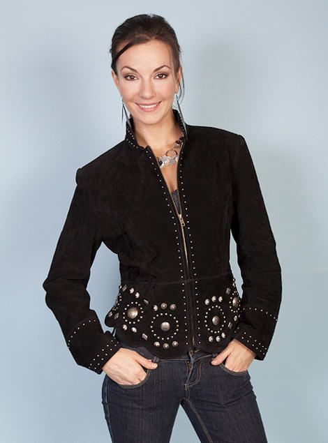 Scully Boar Suede Leather Jacket Stud & Concho L191 Womens Black, $221.00