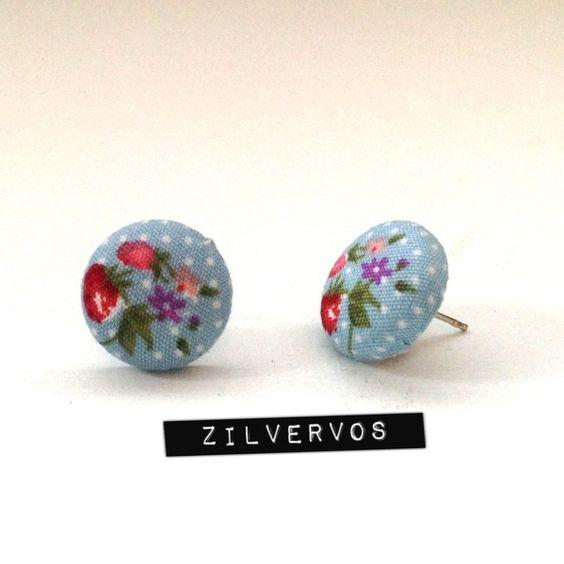 Aardbei-bloemen studs van Zilvervos op DaWanda.com