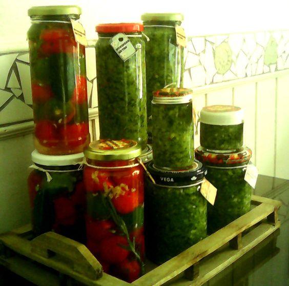 Pimentas e tempero caseiro