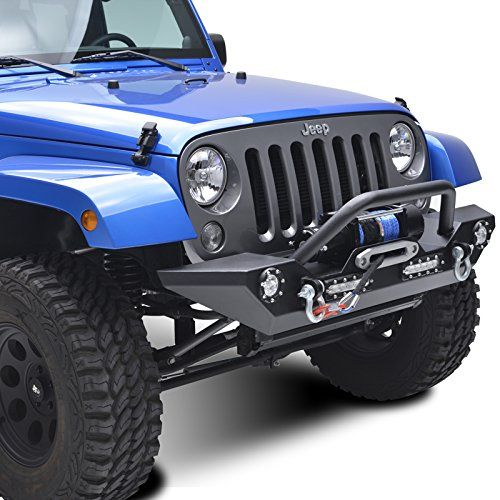 The E-Autogrilles Heavy Duty Rock Crawler Jeep JK Front Bumper offers a lot of great additions including an aggressive looking stinger and winch plate.