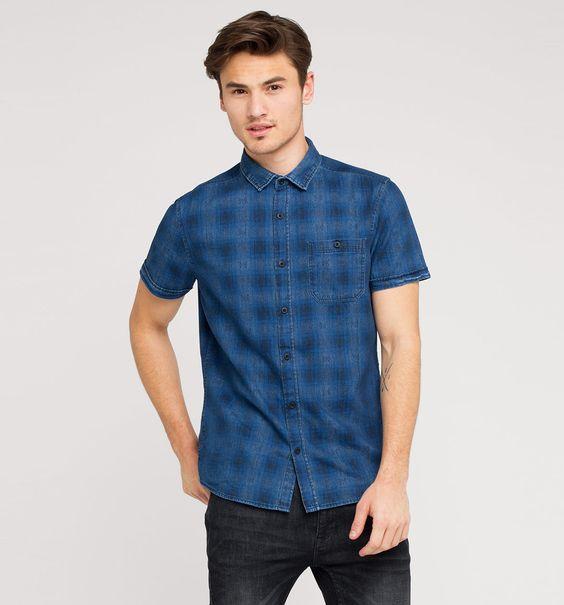 Jeanshemd mit Print in jeans-dunkelblau