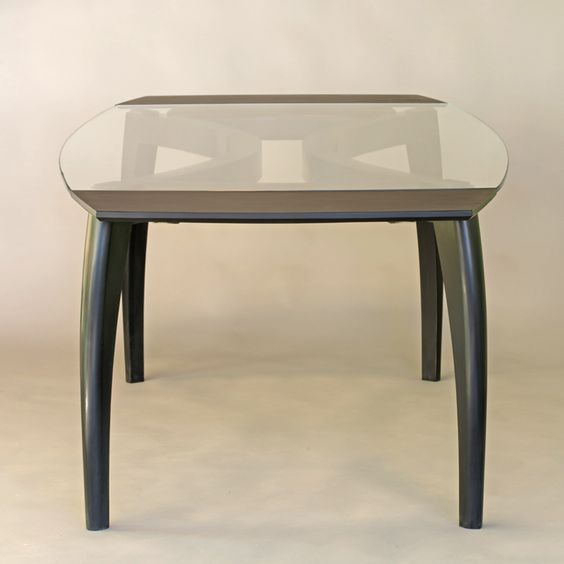 dining table company boards. glass top table, extended with ebonized company boards dining table