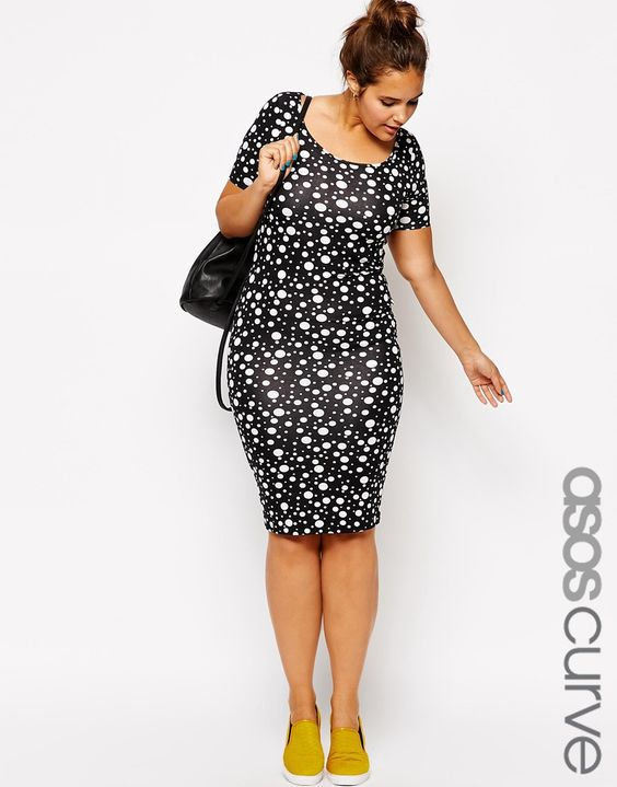Enlarge ASOS CURVE Exclusive Body-Conscious Dress In Polka Dot  In Longer Length