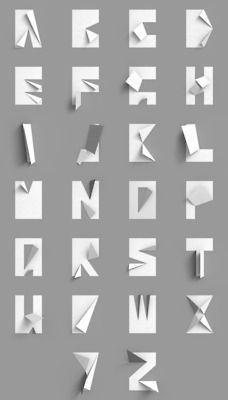 Folded paper type by Konstantin Datz: Paper Type, Paper Alphabet, Typography Design, Design Typography, Origami Typography,  File Cabinet, Paper Typography