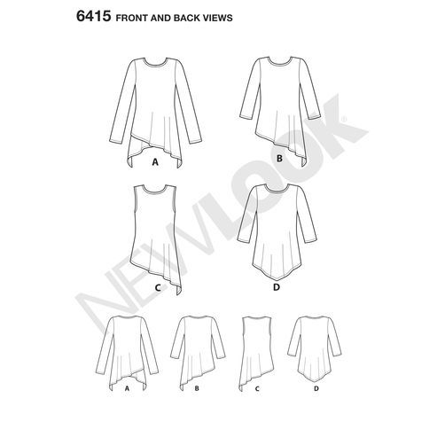 New Look Pattern 6415 Misses' Knit Tunics