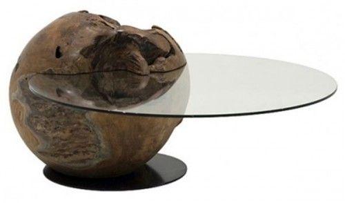 Teak Round Coffee Table Glass