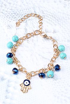 Hamsa Hand & Bead Charm Bracelet