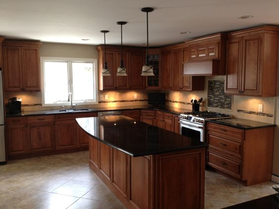 Cherry Cabinets, Maple Wood Doors, Black Granite Counters, Travertine Backsplash, Porcelain Tile ...