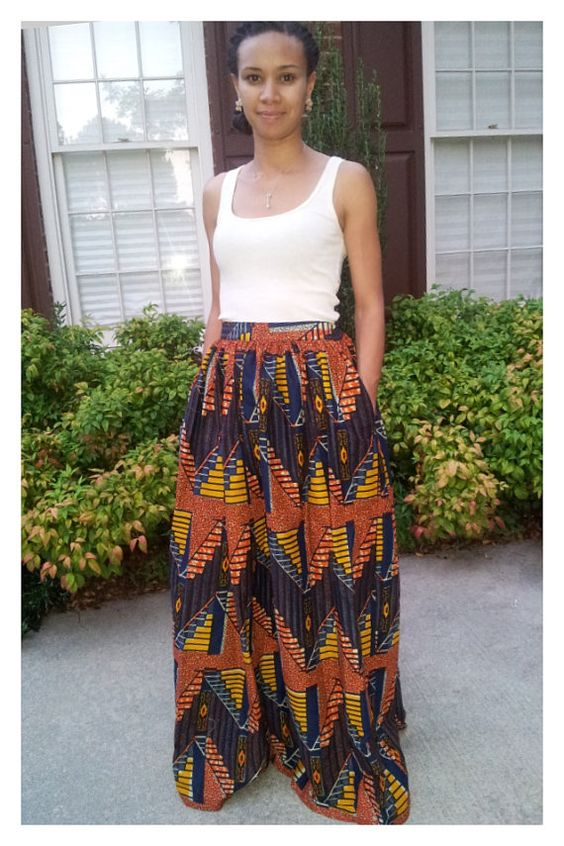 maxi skirt in fabric pleated with by