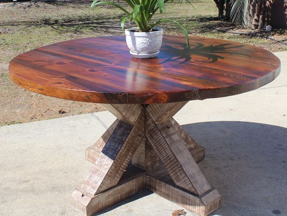 Reclaimed Heart Pine 58 Inch Dining Table Dining Table Kitchen