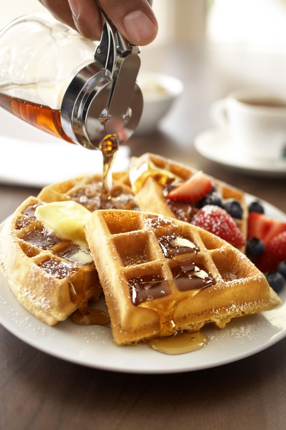 Waffles with butter and lots of maple syrup!