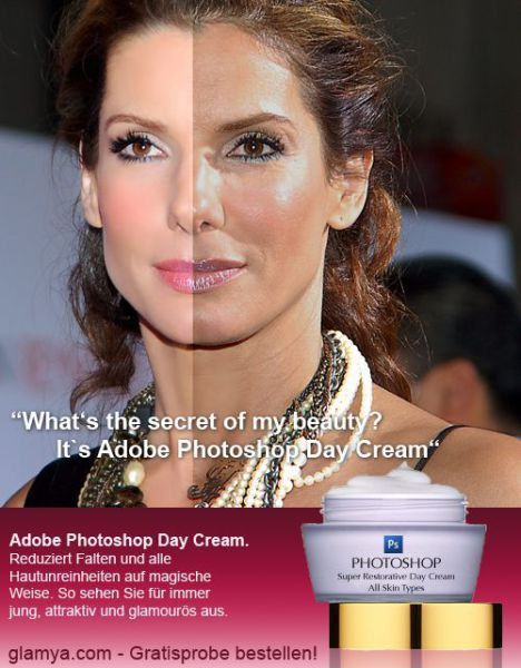 Sandra Bullock. The photoshopped image compared to the ...