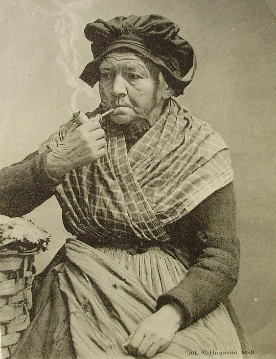 Antique French Postcard  Old Woman Smoking a Pipe by ChicEtChoc, $4.50
