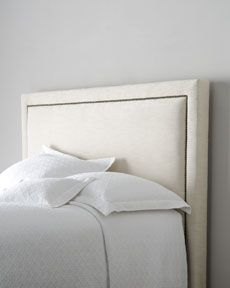 """Keep the shape of your headboard but recover it in off white (suede?) and tacks --- This one is from Horchow-   -43P1 Bernhardt """"Eastman"""" Headboard"""