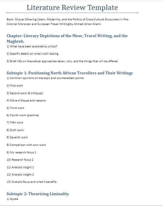 Kerangka Kajian Literatur @ Literature Review Template Literature - literature review