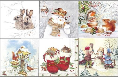 4 Different Vintage Table Paper Napkins for Party Lunch Decoupage Christmas 1//2