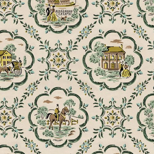 Vintage wallpaper 1800 s 1800 39 s colonial scene on demand for Colonial mural wallpaper
