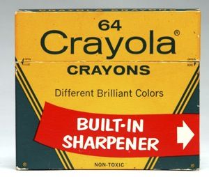 Crayola~ I loved that built in sharpener. And the smell of a new box couldn't be beat.