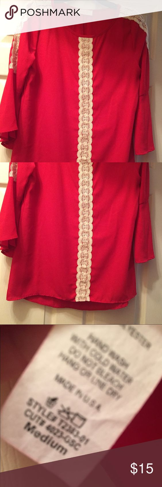 Boutique style top Pink bell sleeved boutique top, barely worn Peach Love Tops Blouses