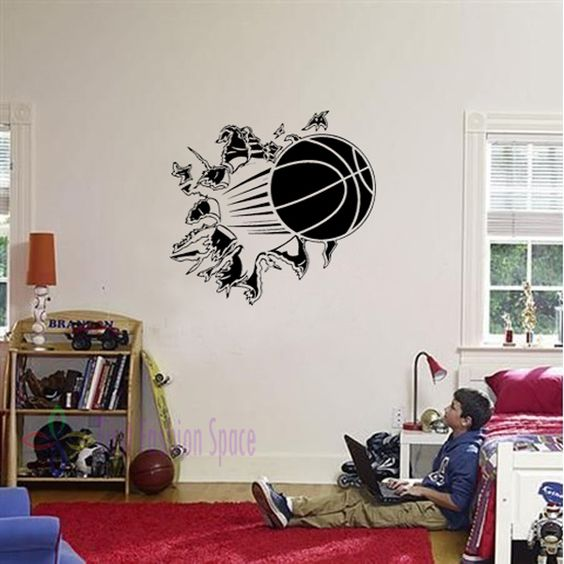3D Removable Basketball Busting Through Wall Vinyl Decal