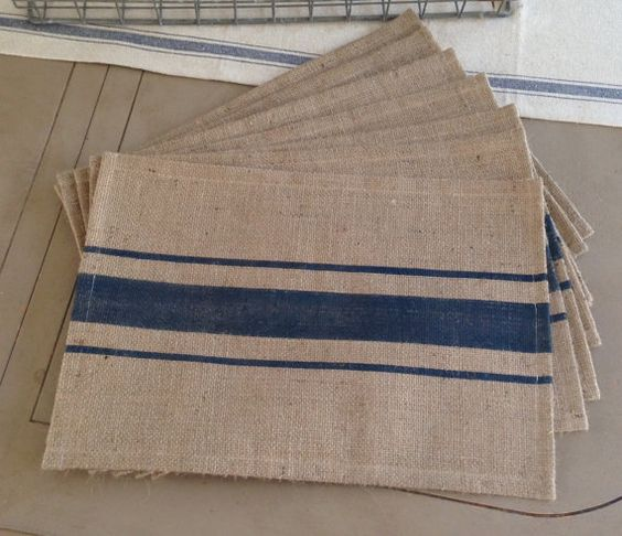 Grain sack, Blue stripes and Sacks