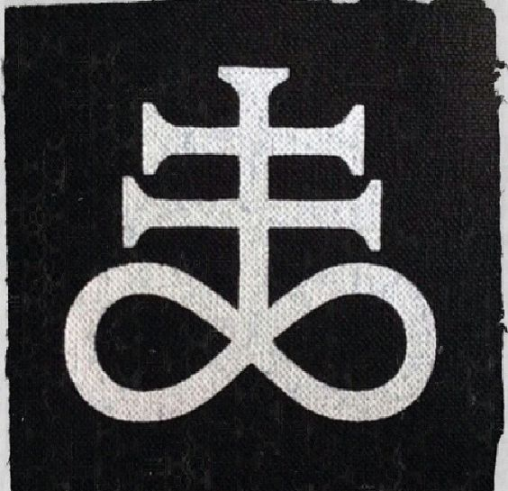 The Satanic Cross is a variation of the alchemical symbol for black sulfur,[1] that represents fire and brimstone. The sulfur symbol was placed above the Nine Satanic Statements (p. 25) in The Satanic Bible in LaVeyan Satanism, and is commonly used in rituals performed by Theistic Satanists