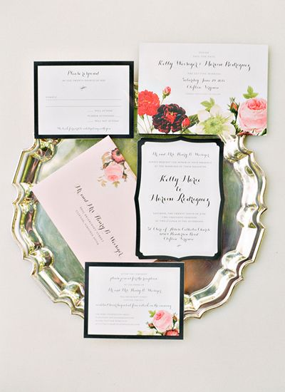 Beautiful floral invitation suite | Photo by Katie Stoops