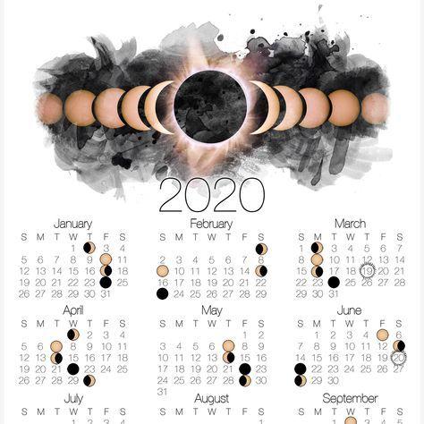 2020 Moon Phase Calendar Lunar Calendar With Solar Eclipse Celestial Watercolor Wanderlust Decor In 2020 Moon Phase Calendar Lunar Calendar Moon Calendar