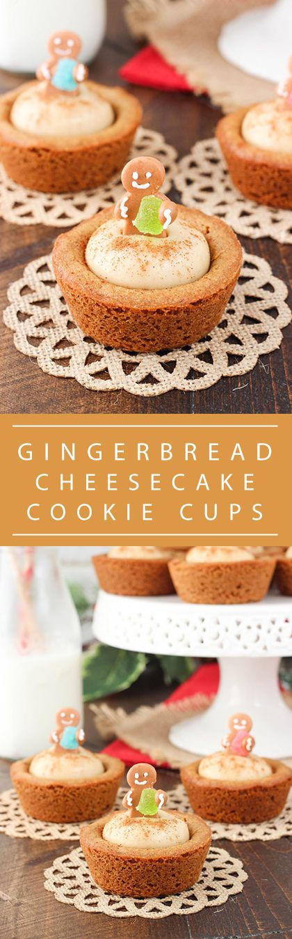 Gingerbread Cheesecake Cookie Cups - a soft and chewy gingerbread cookie cup filled with no bake gingerbread cheesecake! So cute and the perfect dessert for your Christmas party!: