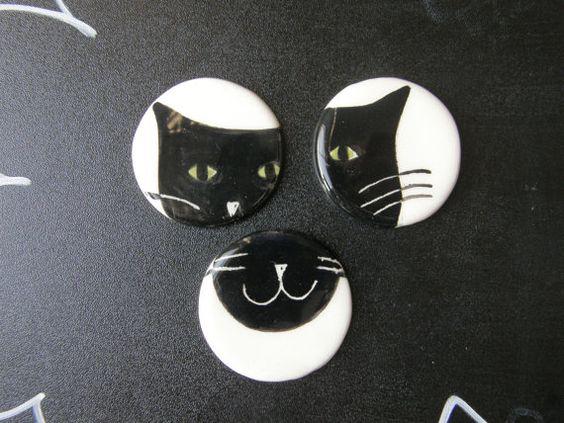 3 Ceramic Magnets  Funny Cats Magnets White by TatjanaCeramics